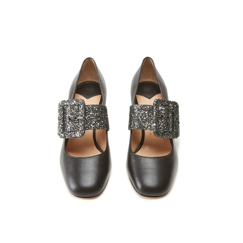 Black nappa leather Mary Jane shoes with glitter strap hand made in Italy, women's model by Fragiacomo, over view