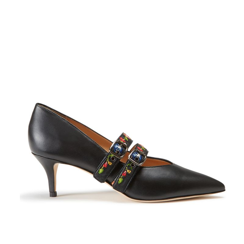 Black nappa leather pumps with embroidered straps hand made in Italy, women's model by Fragiacomo