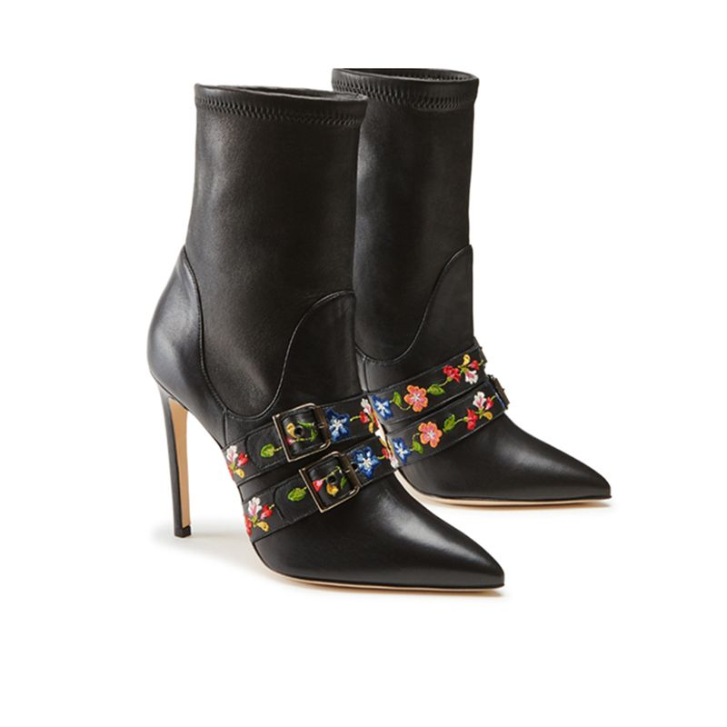 Black nappa leather stretch ankle boots with embroidered straps hand made in Italy, women's model by Fragiacomo, side view