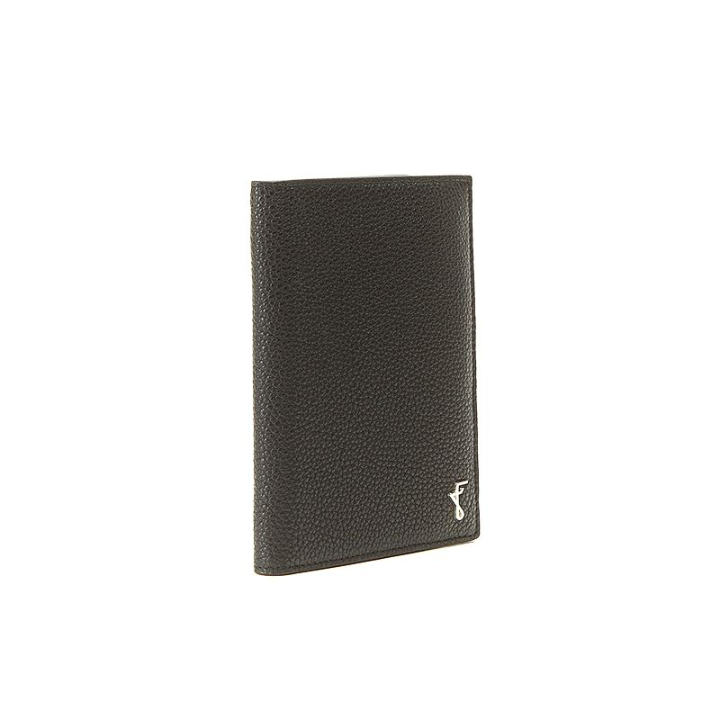 Black moose leather passport cover man with silver accessories