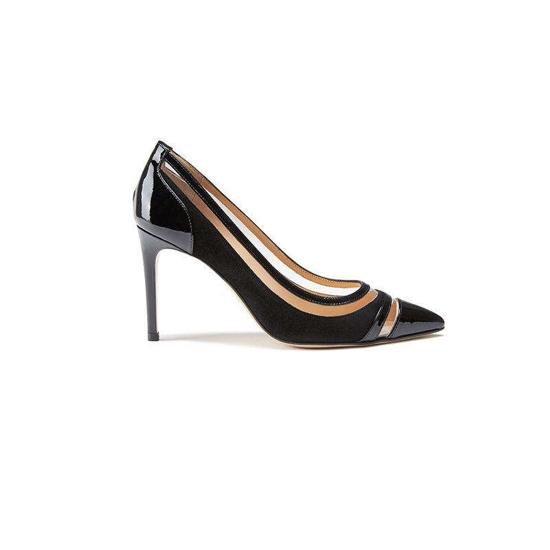Black patent leather and suede pumps with pvc inserts hand made in Italy, women's model by Fragiacomo