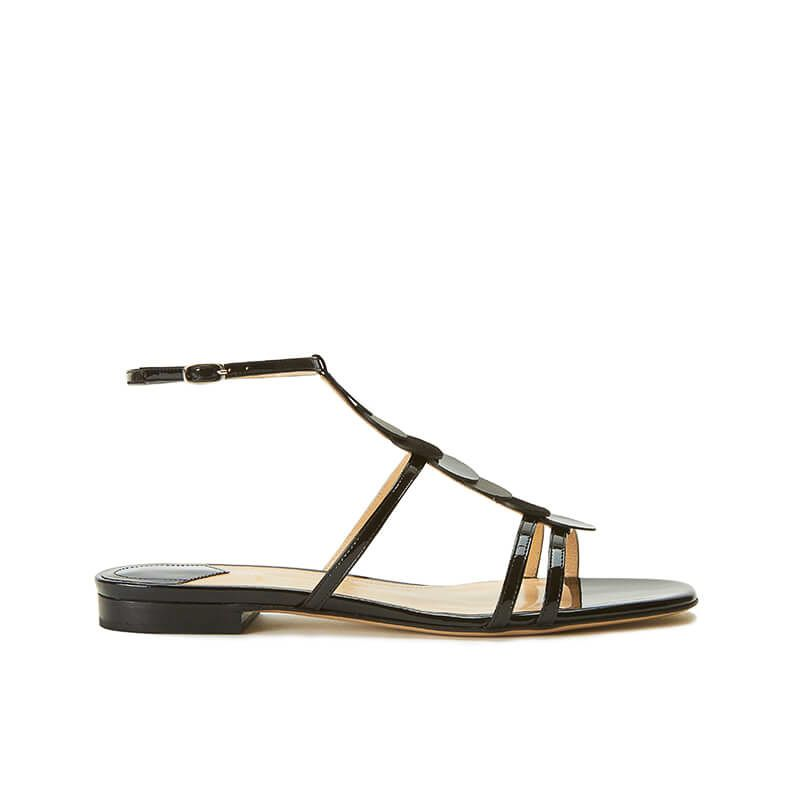 Black patent leather sandals with ankle strap and leather and suede discs, SS19 collection by Fragiacomo