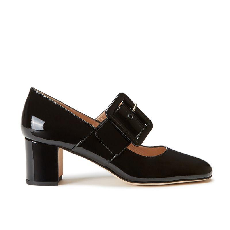 Scarpe modello Mary Jane in vernice nera fatte a mano in Italia con cinturino, modello da donna by Fragiacomo