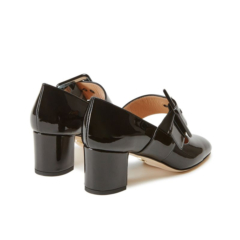 Black patent leather Mary Jane shoes with strap hand made in Italy, women's model by Fragiacomo, back view