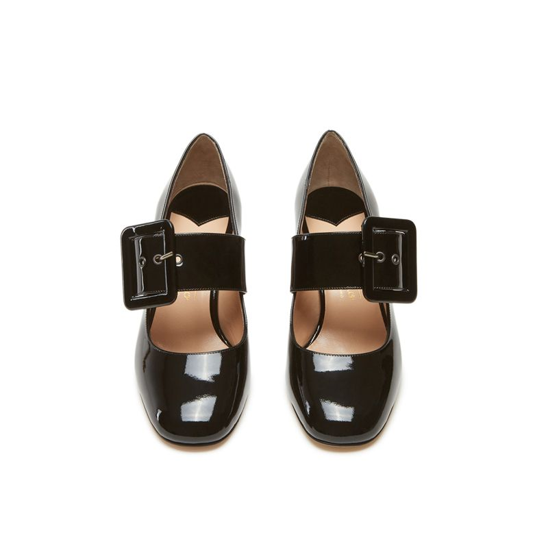 Black patent leather Mary Jane shoes with strap hand made in Italy, women's model by Fragiacomo, over view