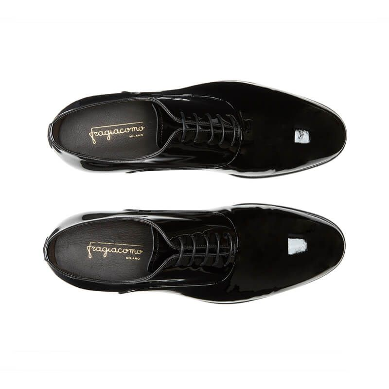 Black patent leather Smoking Oxford shoes, men's model by Fragiacomo