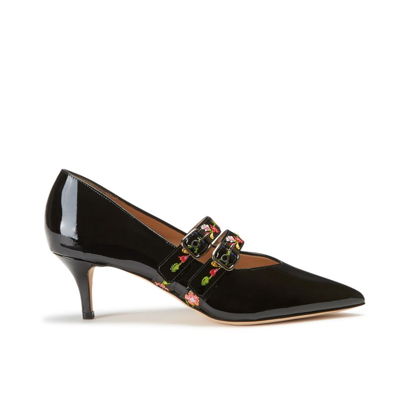Black patent leather pumps with embroidered straps hand made in Italy, women's model by Fragiacomo