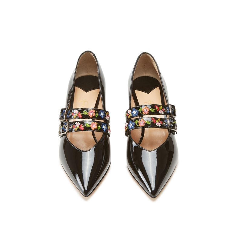 Black patent leather pumps with embroidered straps hand made in Italy, women's model by Fragiacomo, over view