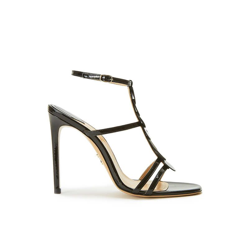 Black patent leather sandals with ankle strap, leather discs and high heel 100mm, SS19 collection by Fragiacomo