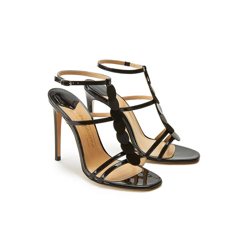 Black patent leather sandals with ankle strap, leather discs and high heel 100mm, SS19 collection by Fragiacomo, side view