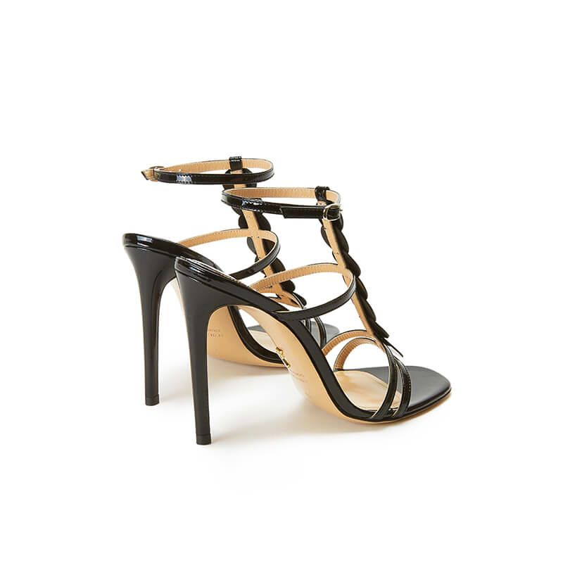 Black patent leather sandals with ankle strap, leather discs and high heel 100mm, SS19 collection by Fragiacomo, back view