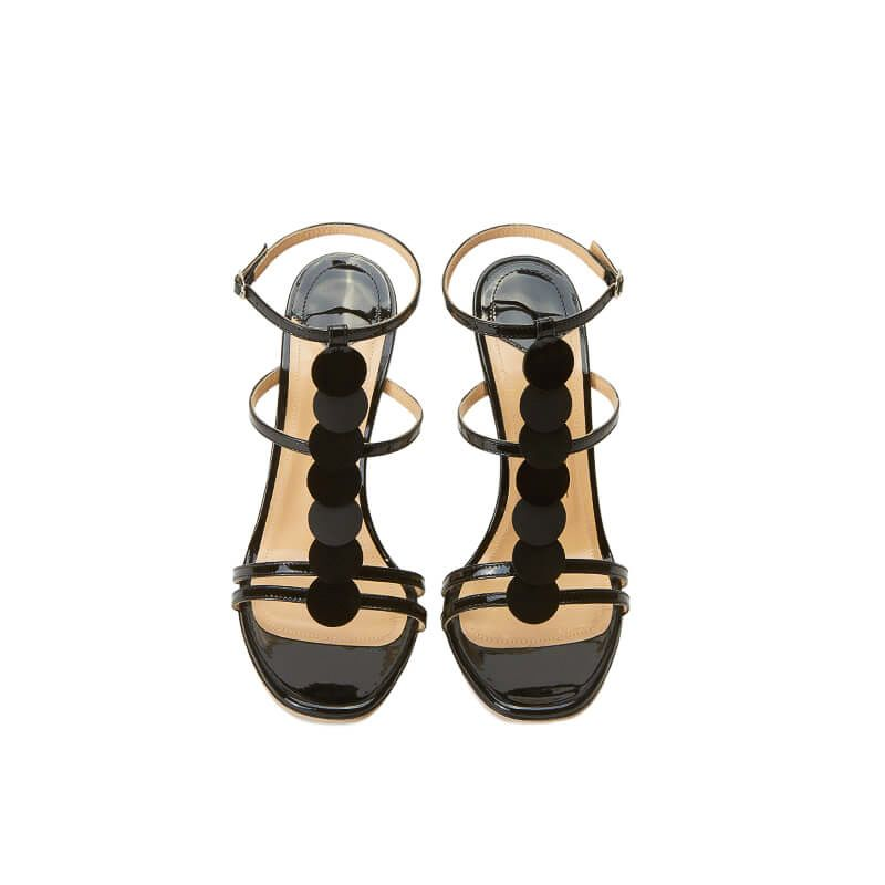 Black patent leather sandals with ankle strap, leather discs and high heel 100mm, SS19 collection by Fragiacomo, over view
