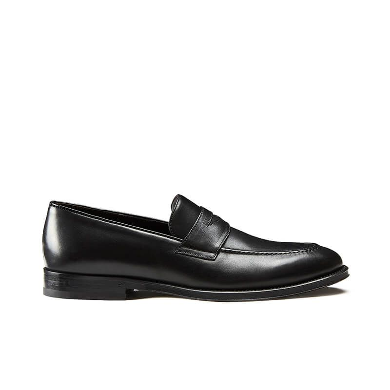 Black calfskin penny loafers, hand made in Italy, elegant men's by Fragiacomo