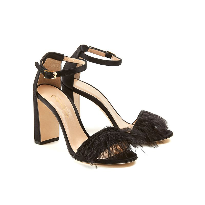Black satin sandals with feathers on the front part, ankle strap and chunky 100 mm heel