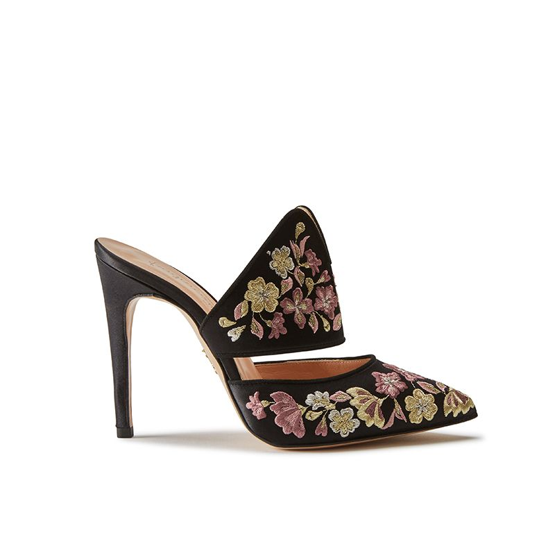 Black satin mules with floral embroidery, elegant, women's by Fragiacomo