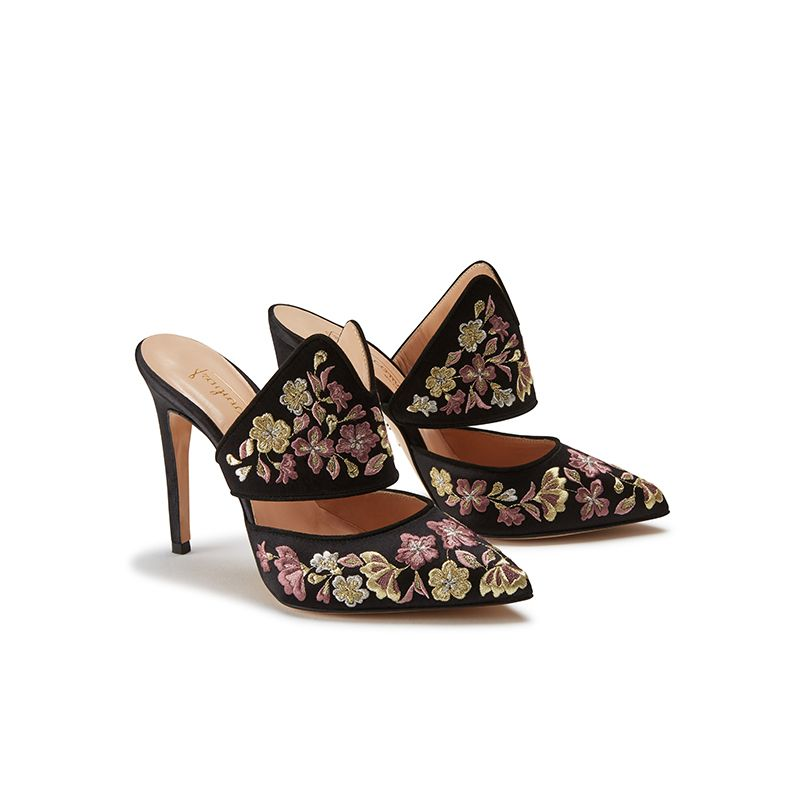 Black satin mules with floral embroidery, elegant, women's by Fragiacomo, side view