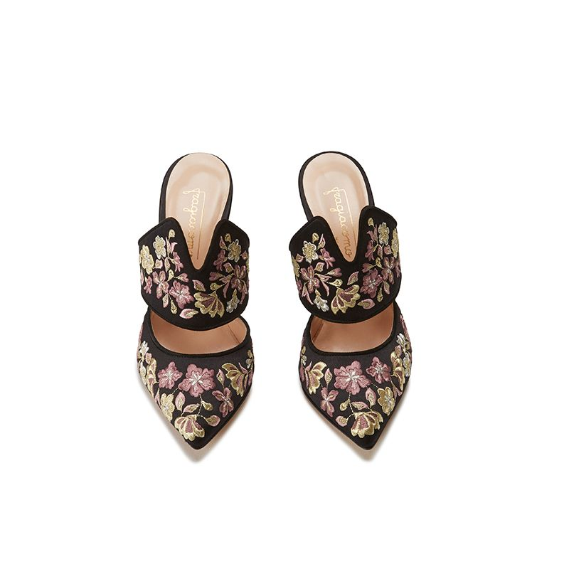 Black satin mules with floral embroidery, elegant, women's by Fragiacomo, bottom view