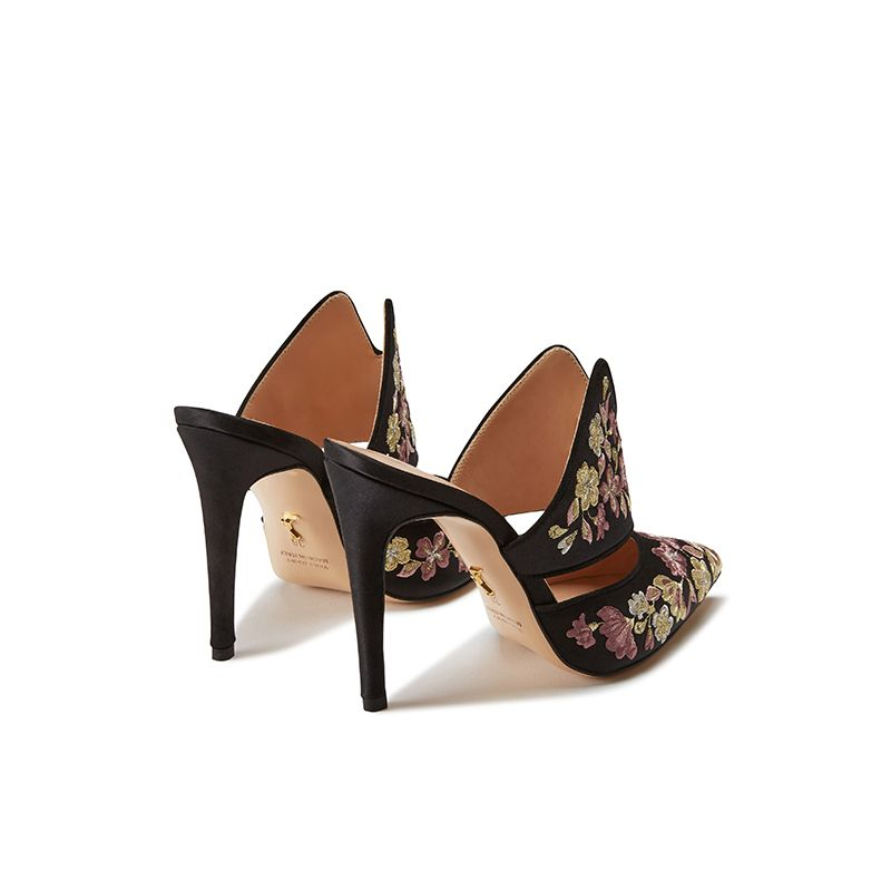 Black satin mules with floral embroidery, elegant, women's by Fragiacomo, back view