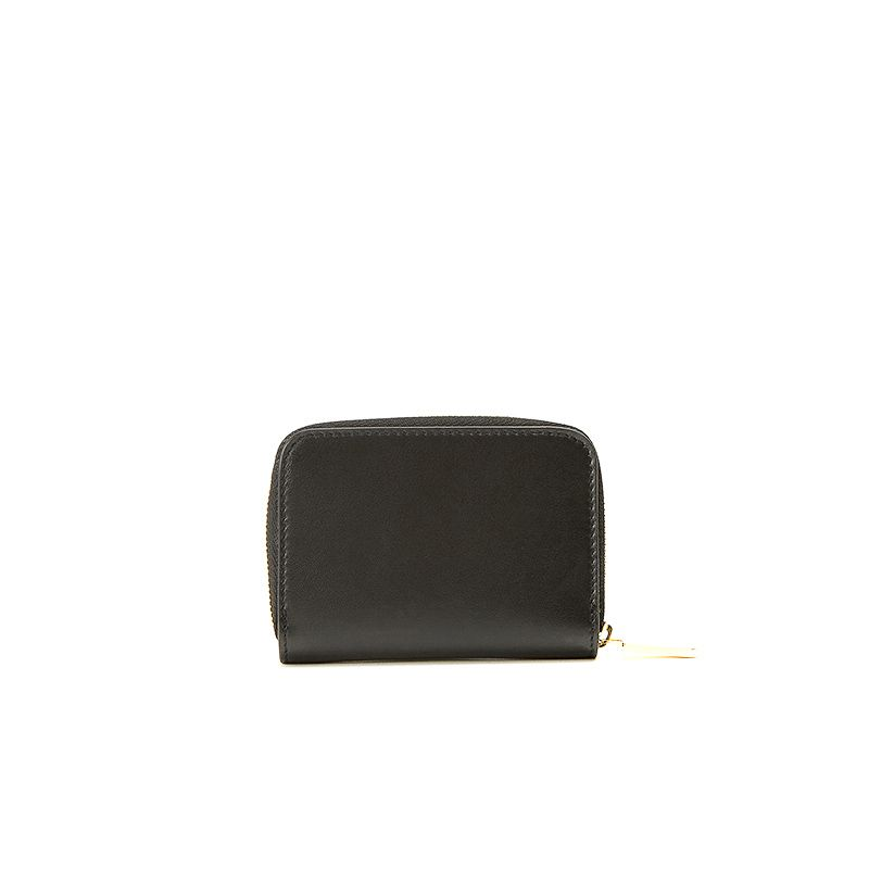 Small black nappa leather woman's wallet  with gold accessories