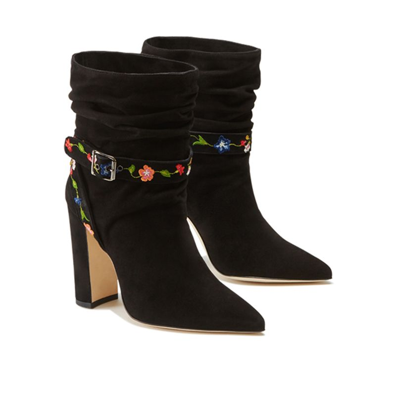 Black suede ankle boots with embroidered straps - Luxury by Fragiacomo, side view
