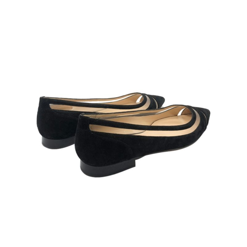 Black suede ballerinas with pvc details hand made in Italy, women's model by Fragiacomo