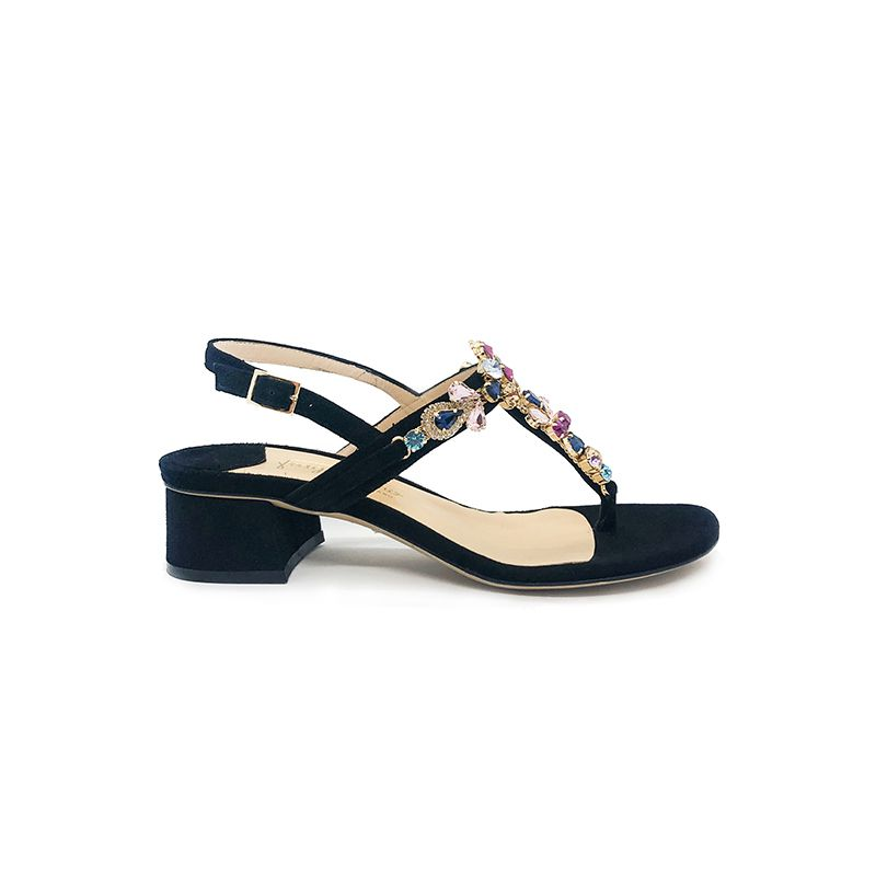 Black suede sandals with multicolor crystals hand made in Italy, women's model by Fragiacomo