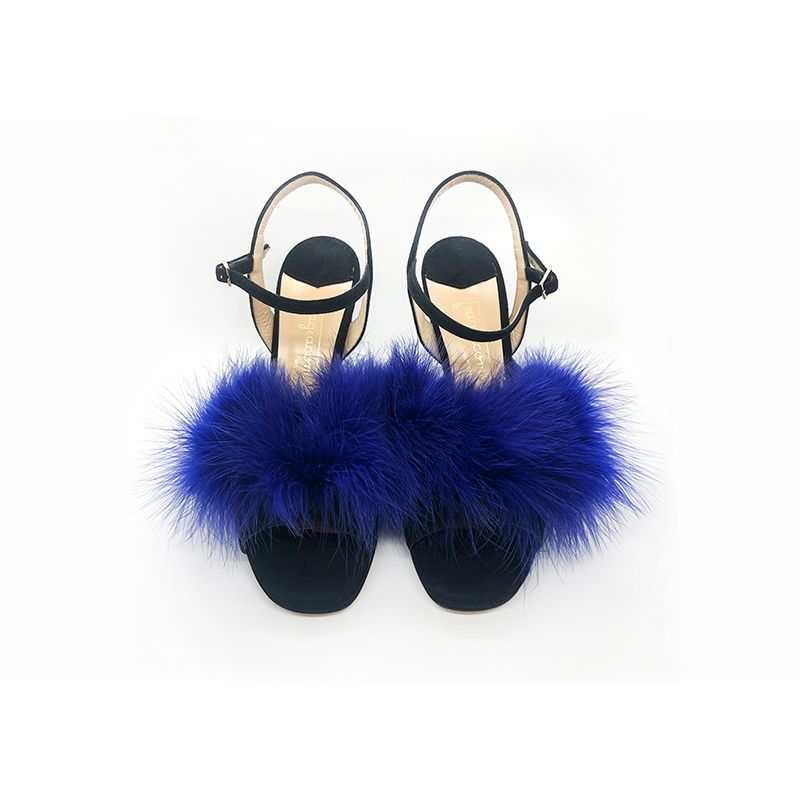 Black suede high heel sandals with violet feathers hand made in Italy, women's model by Fragiacomo
