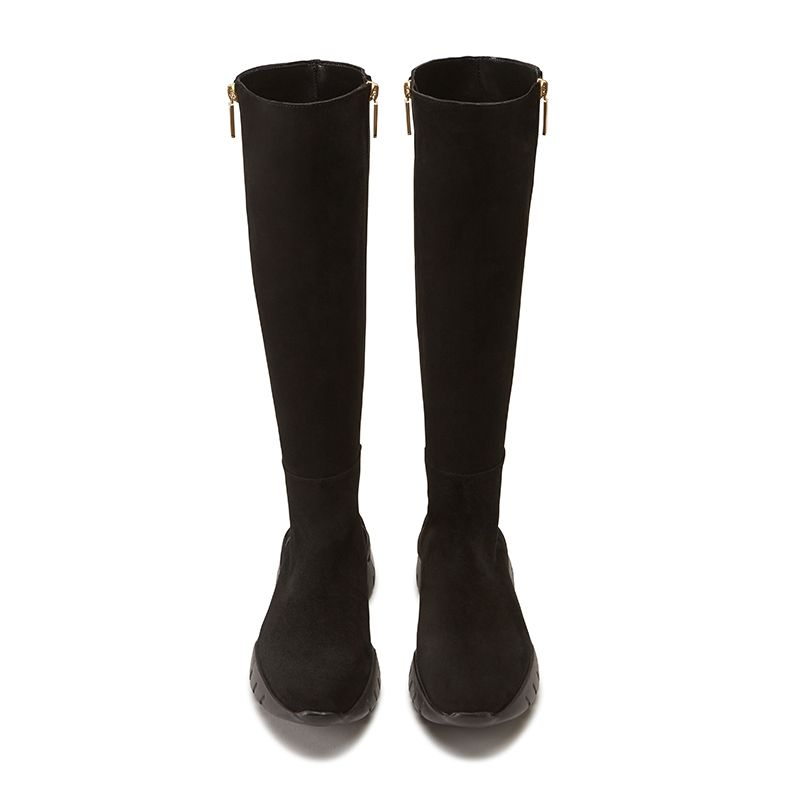 Black suede knee high boots hand made in Italy with iconic embroidery, double golden zip and rubber sole, women's model by Fragiacomo, over view