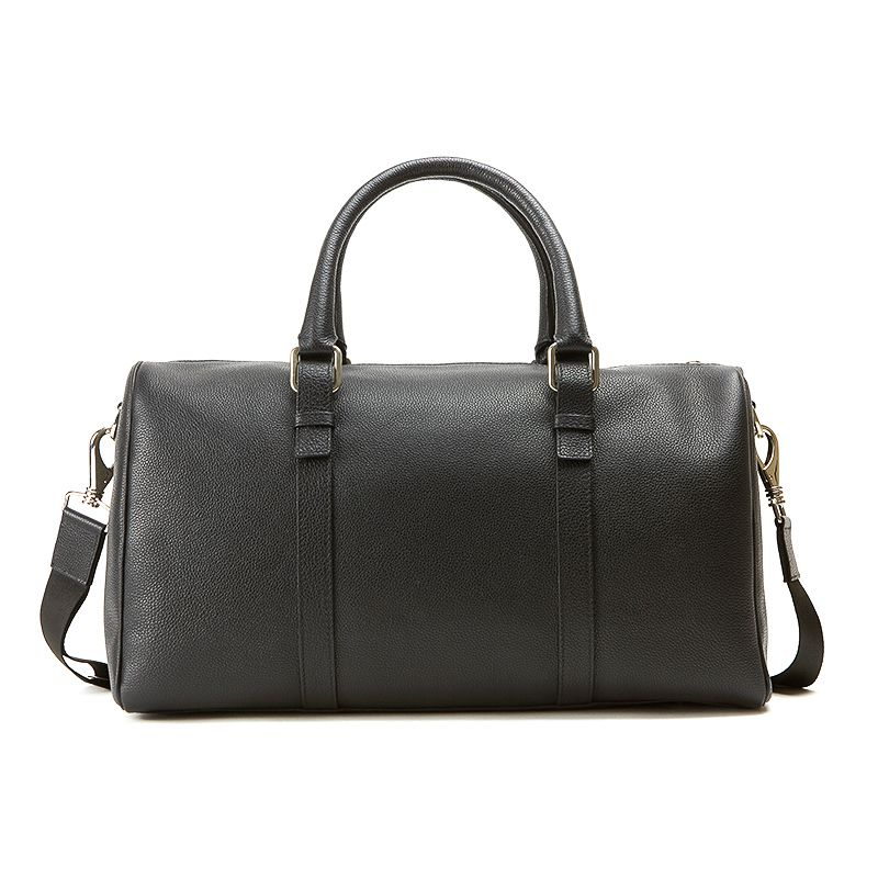 Black moose leather travel bag man  with silver accessories