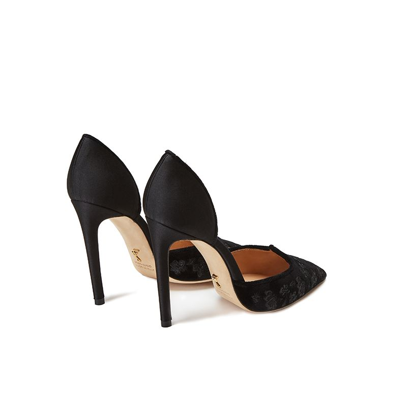 Black velvet pumps with embroidery ton sur ton on the point and satin on the back part, elegant women's, by Fragiacomo, back view