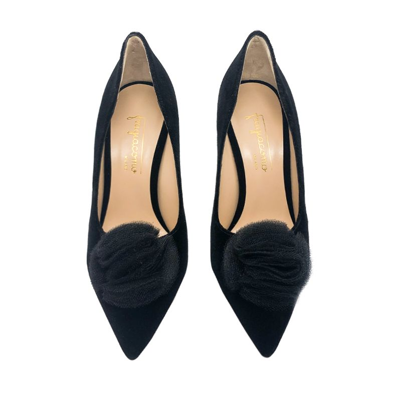Black velvet pumps with rouche hand made in Italy, women's model by Fragiacomo