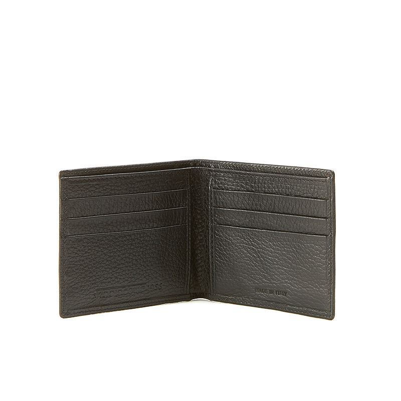 Black moose leather wallet man  with silver accessories