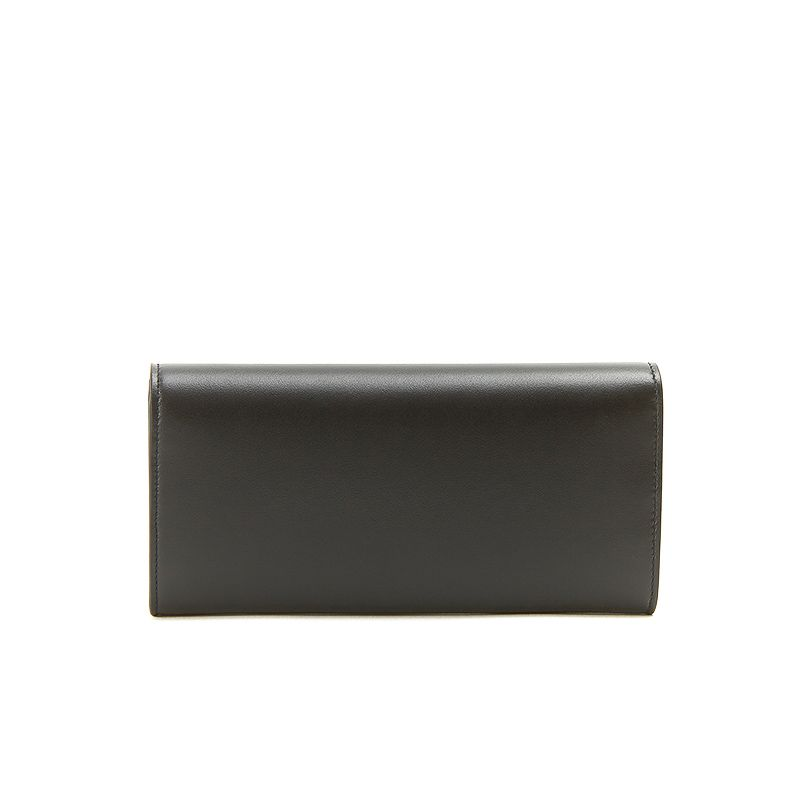 Black nappa leather woman's wallet  with silver accessories