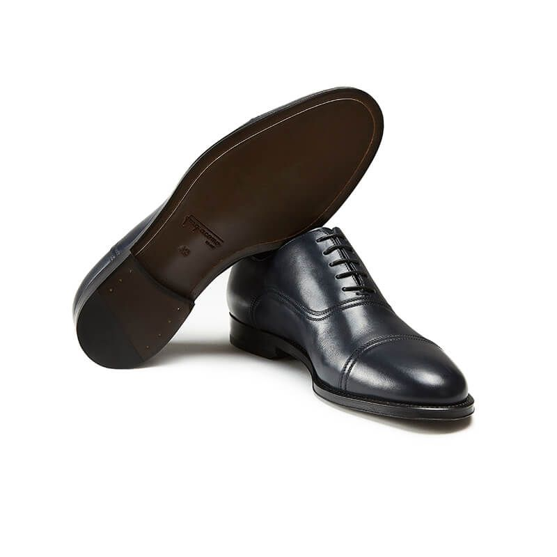 Blue calfskin Oxford shoes with laces, hand made in Italy, elegant men's by Fragiacomo