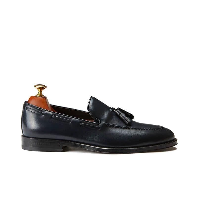 Blue calfskin tassel loafers, hand made in Italy, elegant men's by Fragiacomo