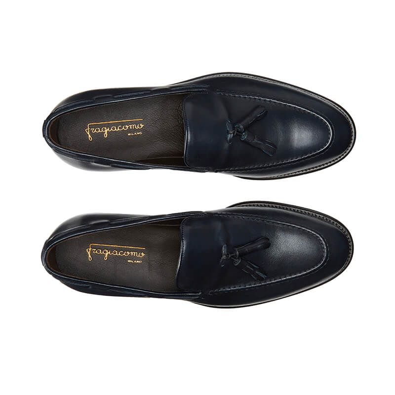 Blue calfskin tassel loafers, hand made in Italy, elegant men's by Fragiacomo