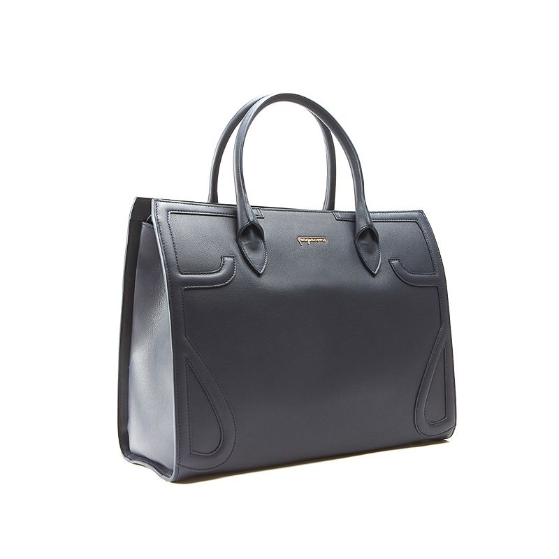 Icon bag in blue nappa leather woman