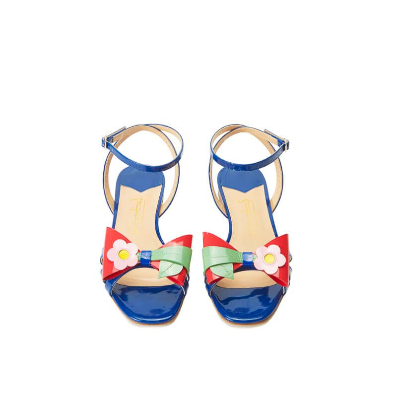 Blue patent leather flat sandals with ankle strap and multicolor bow, SS19 collection by Fragiacomo, over view