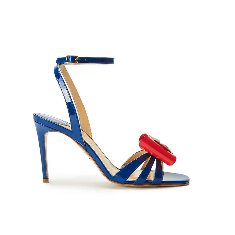 Blue patent leather high heel sandals with ankle strap and multicolor bow, SS19 collection by Fragiacomo