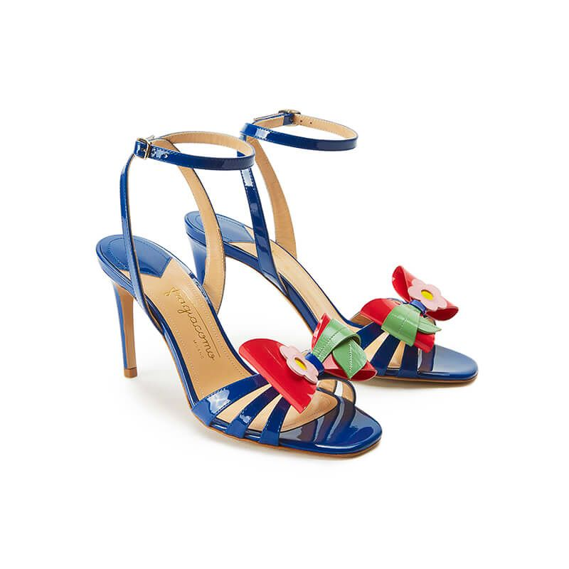Blue patent leather high heel sandals with ankle strap and multicolor bow, SS19 collection by Fragiacomo, side view