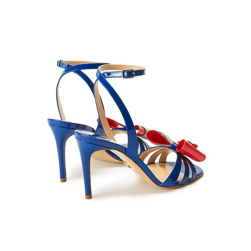 Blue patent leather high heel sandals with ankle strap and multicolor bow, SS19 collection by Fragiacomo, back view