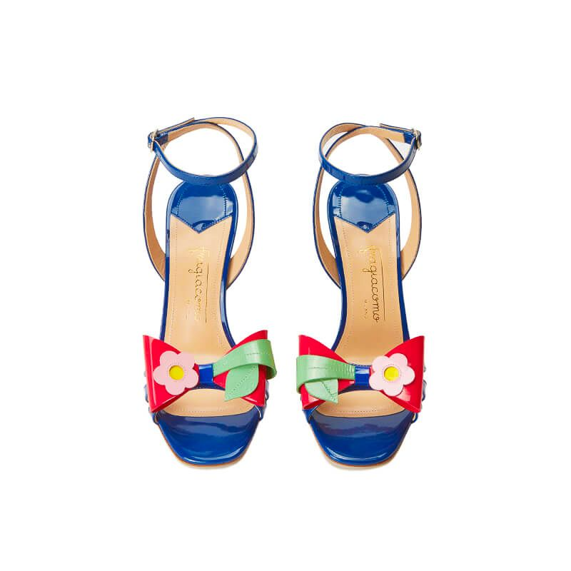 Blue patent leather high heel sandals with ankle strap and multicolor bow, SS19 collection by Fragiacomo, over view