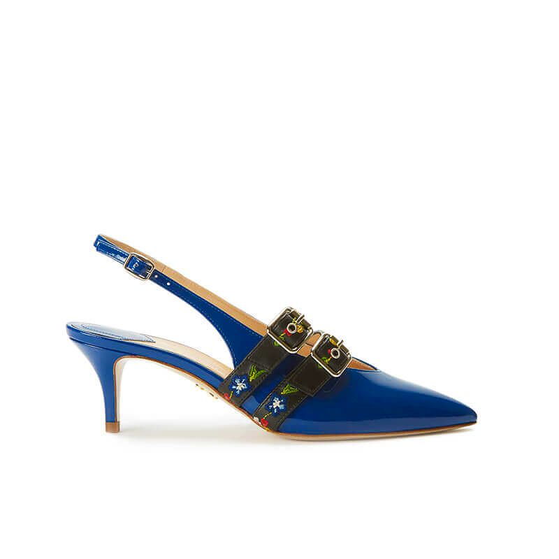 Blue patent leather slingbacks with embroidered straps and kitten heel, SS19 collection by Fragiacomo