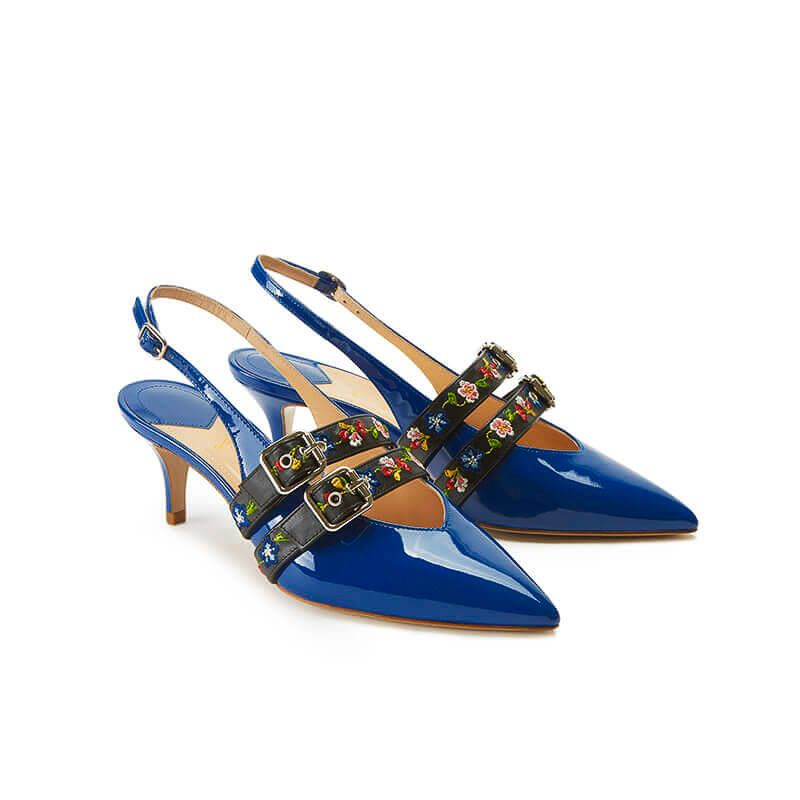 Blue patent leather slingbacks with embroidered straps and kitten heel, SS19 collection by Fragiacomo, side view