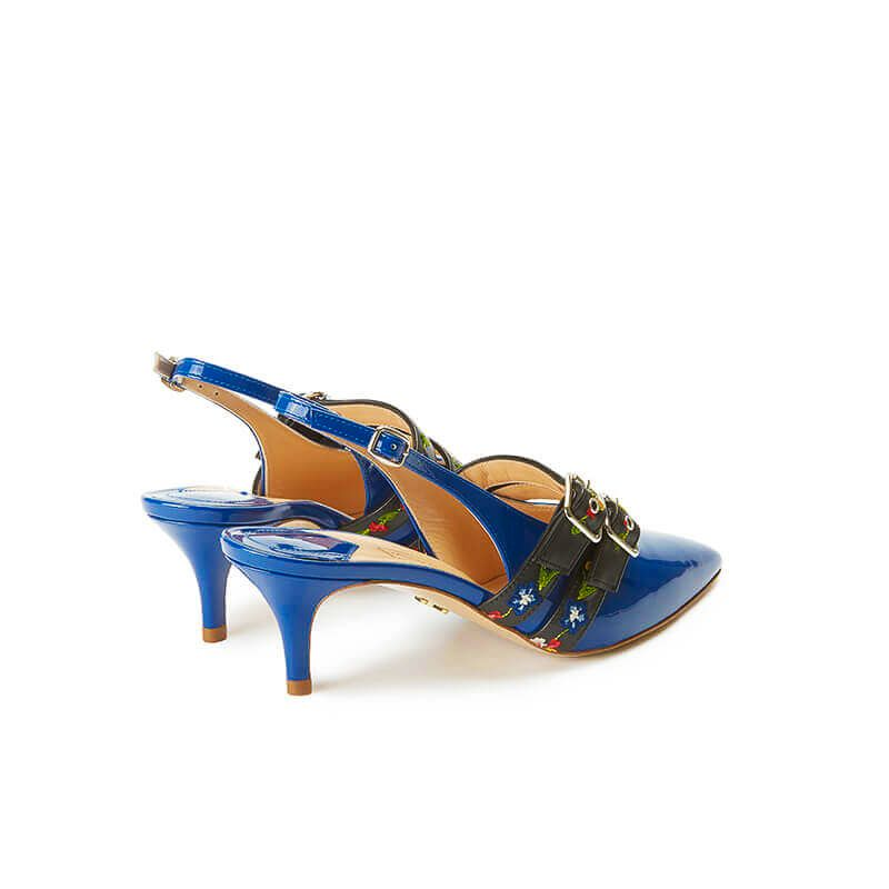 Blue patent leather slingbacks with embroidered straps and kitten heel, SS19 collection by Fragiacomo, back view
