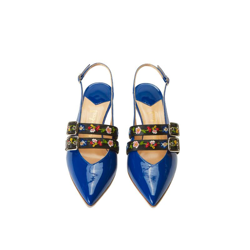 Blue patent leather slingbacks with embroidered straps and kitten heel, SS19 collection by Fragiacomo, over view