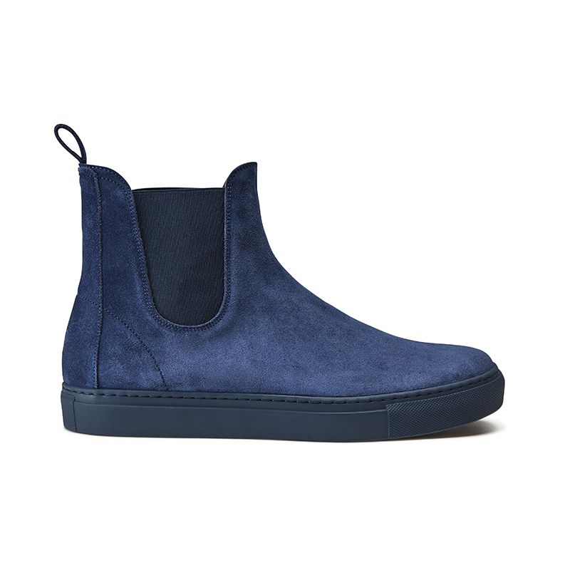 Blue suede Chelsea ankle boots hand made in Italy, men's model by Fragiacomo