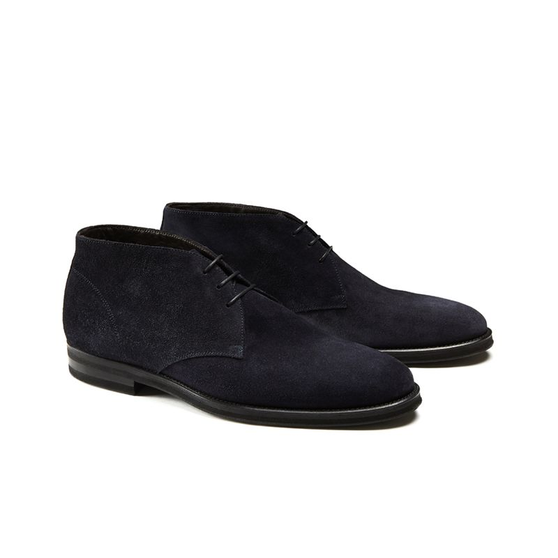 Blue suede ankle boots hand made in Italy, men's model by Fragiacomo, side view