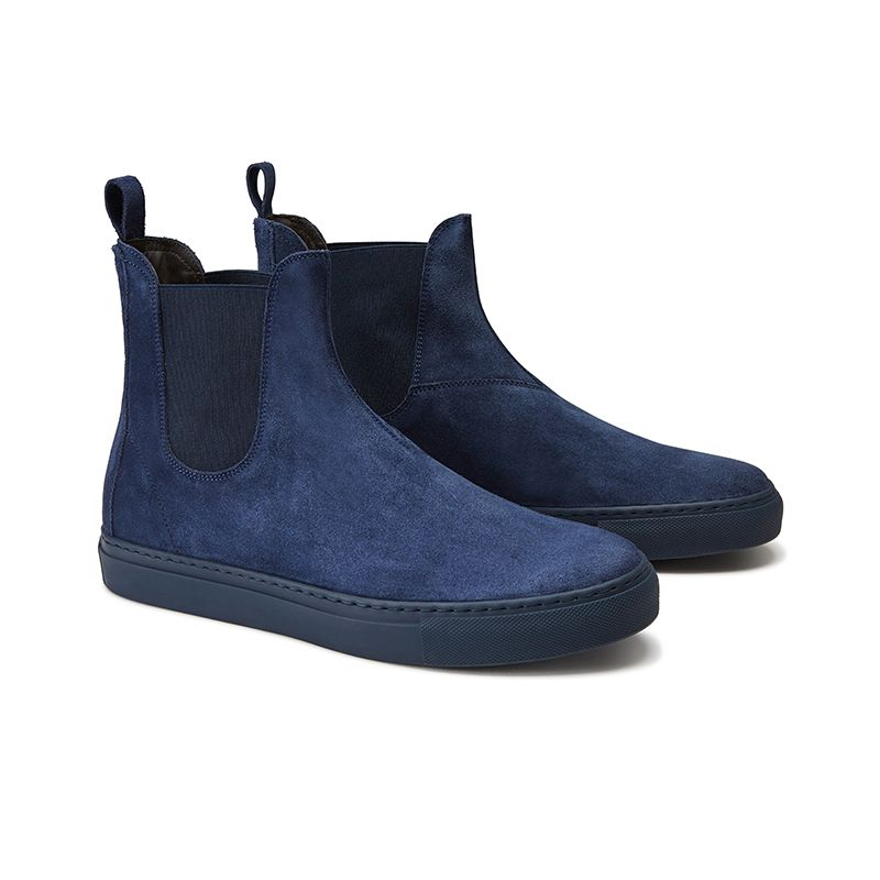 Blue suede Chelsea ankle boots hand made in Italy, men's model by Fragiacomo, side view