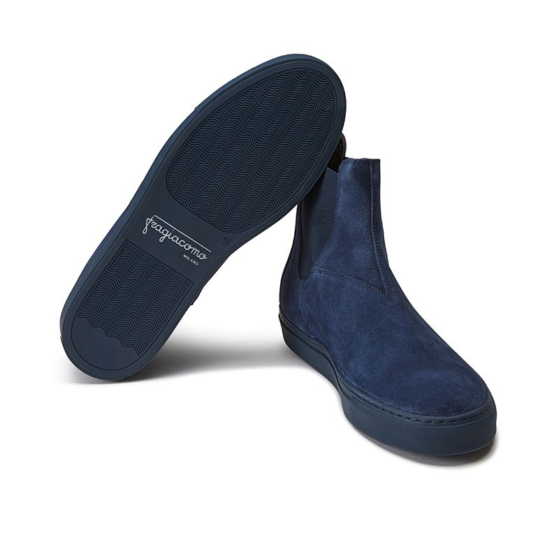 Blue suede Chelsea ankle boots hand made in Italy, men's model by Fragiacomo, bottom view